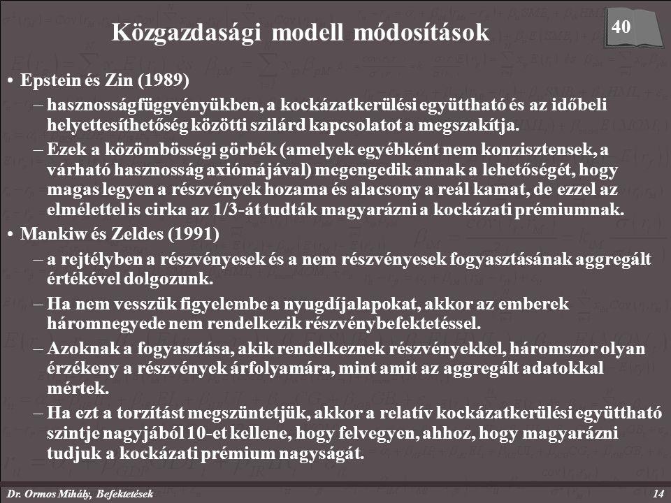 Dr. Ormos Mihály, Befektetések14 Közgazdasági modell módosítások Epstein és Zin (1989) –hasznosságfüggvényükben, a kockázatkerülési együttható és az i