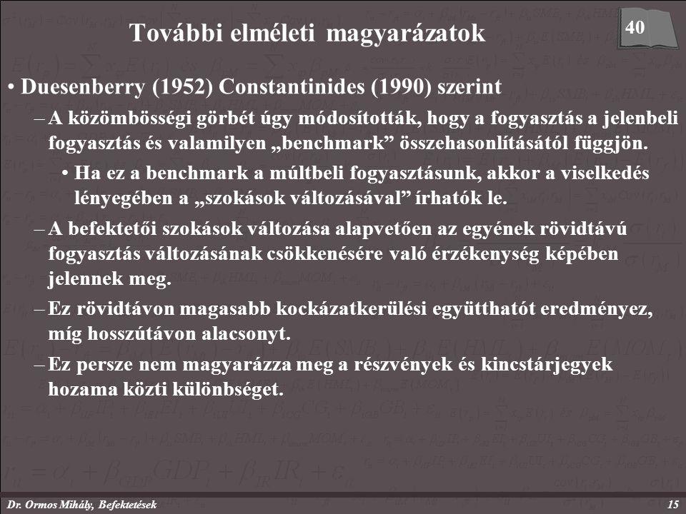 Dr. Ormos Mihály, Befektetések15 További elméleti magyarázatok Duesenberry (1952) Constantinides (1990) szerint –A közömbösségi görbét úgy módosítottá