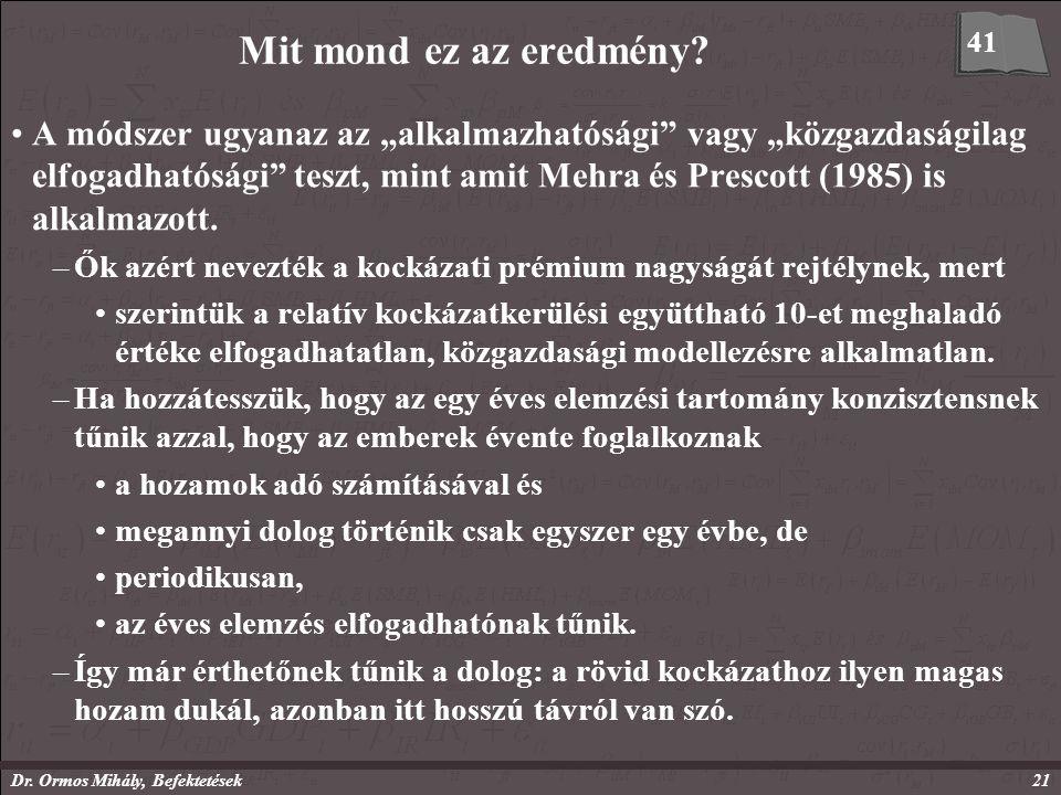 Dr. Ormos Mihály, Befektetések21 Mit mond ez az eredmény.