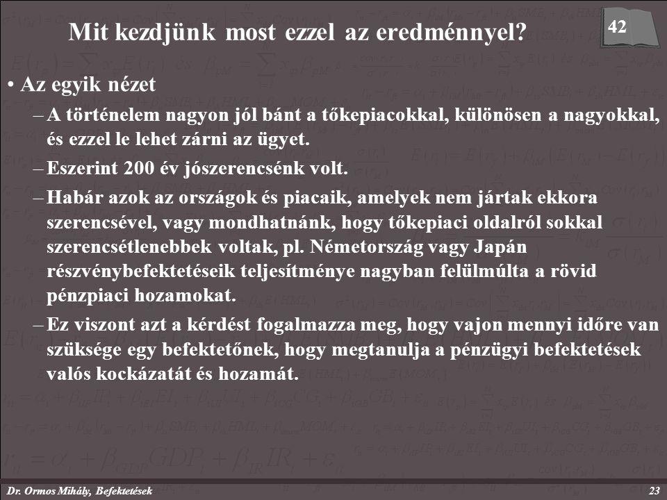 Dr. Ormos Mihály, Befektetések23 Mit kezdjünk most ezzel az eredménnyel.