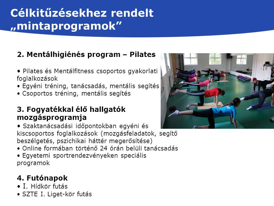 2. Mentálhigiénés program – Pilates Pilates és Mentálfitness csoportos gyakorlati foglalkozások Egyéni tréning, tanácsadás, mentális segítés Csoportos