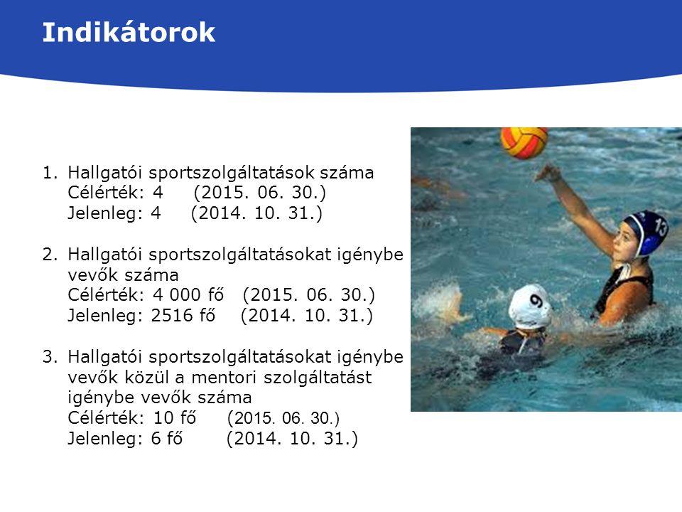 Indikátorok 1.Hallgatói sportszolgáltatások száma Célérték: 4 (2015.