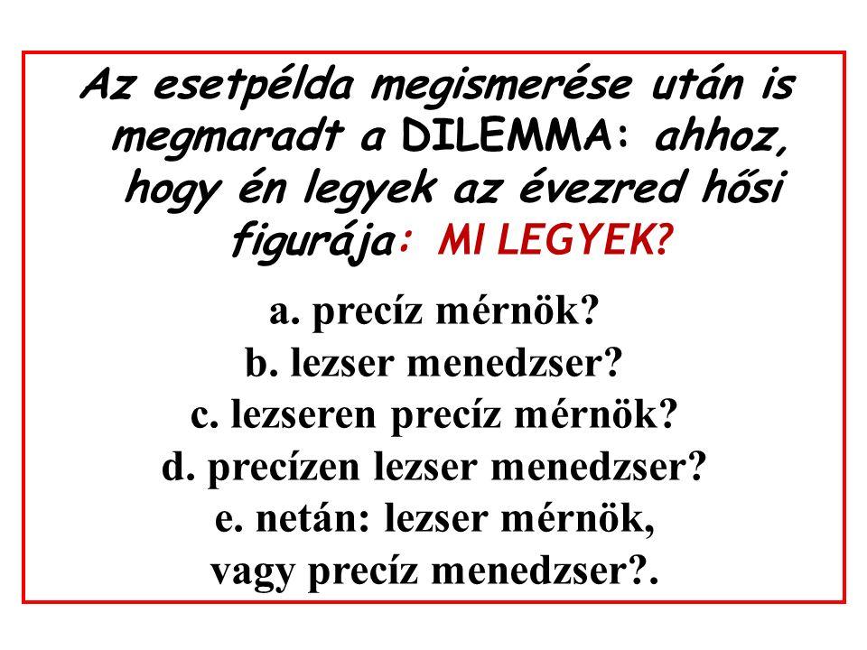 Az esetpélda megismerése után is megmaradt a DILEMMA: ahhoz, hogy én legyek az évezred hősi figurája: MI LEGYEK.