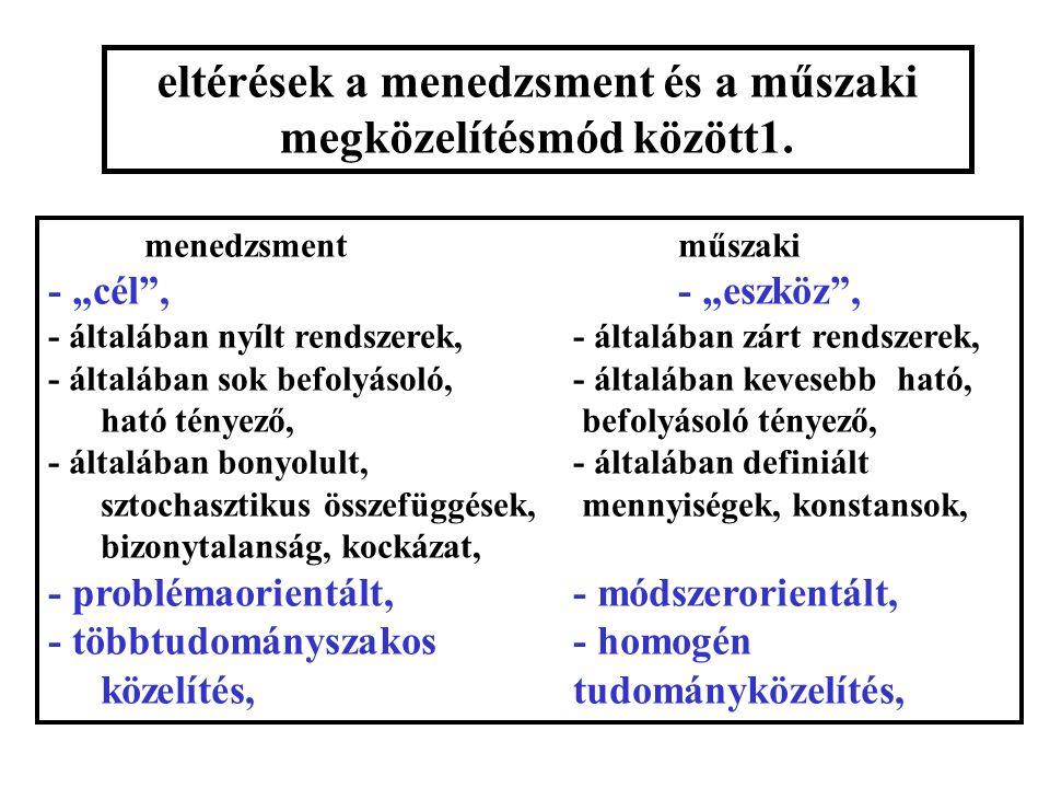 eltérések a menedzsment és a műszaki megközelítésmód között1.