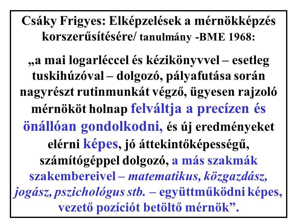 """Csáky Frigyes: Elképzelések a mérnökképzés korszerűsítésére/ tanulmány -BME 1968: """"a mai logarléccel és kézikönyvvel – esetleg tuskihúzóval – dolgozó, pályafutása során nagyrészt rutinmunkát végző, ügyesen rajzoló mérnököt holnap felváltja a precízen és önállóan gondolkodni, és új eredményeket elérni képes, jó áttekintőképességű, számítógéppel dolgozó, a más szakmák szakembereivel – matematikus, közgazdász, jogász, pszichológus stb."""