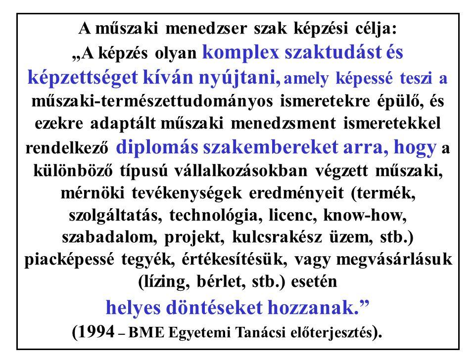 """A műszaki menedzser szak képzési célja: """"A képzés olyan komplex szaktudást és képzettséget kíván nyújtani, amely képessé teszi a műszaki-természettudományos ismeretekre épülő, és ezekre adaptált műszaki menedzsment ismeretekkel rendelkező diplomás szakembereket arra, hogy a különböző típusú vállalkozásokban végzett műszaki, mérnöki tevékenységek eredményeit (termék, szolgáltatás, technológia, licenc, know-how, szabadalom, projekt, kulcsrakész üzem, stb.) piacképessé tegyék, értékesítésük, vagy megvásárlásuk (lízing, bérlet, stb.) esetén helyes döntéseket hozzanak. (1994 – BME Egyetemi Tanácsi előterjesztés )."""