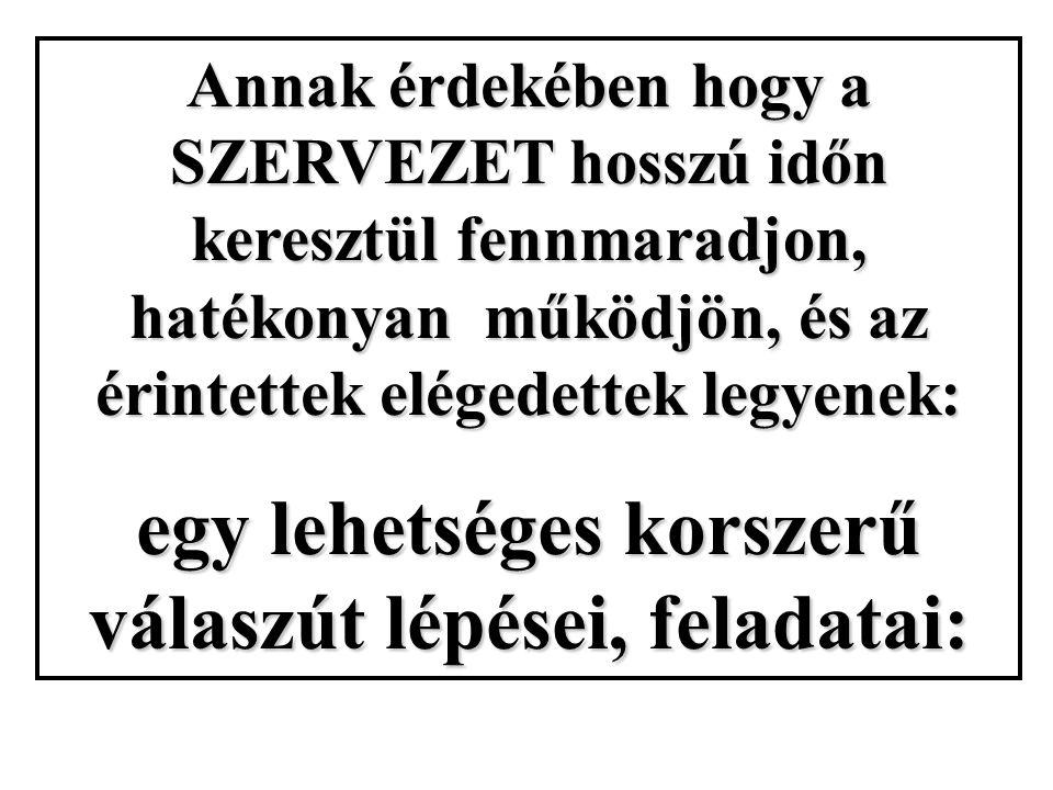Annak érdekében hogy a SZERVEZET hosszú időn keresztül fennmaradjon, hatékonyan működjön, és az érintettek elégedettek legyenek: egy lehetséges korszerű válaszút lépései, feladatai: