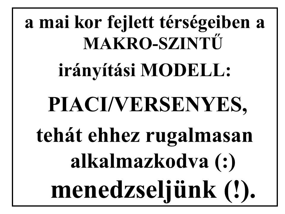 a mai kor fejlett térségeiben a MAKRO-SZINTŰ irányítási MODELL: PIACI/VERSENYES, tehát ehhez rugalmasan alkalmazkodva (:) menedzseljünk (!).