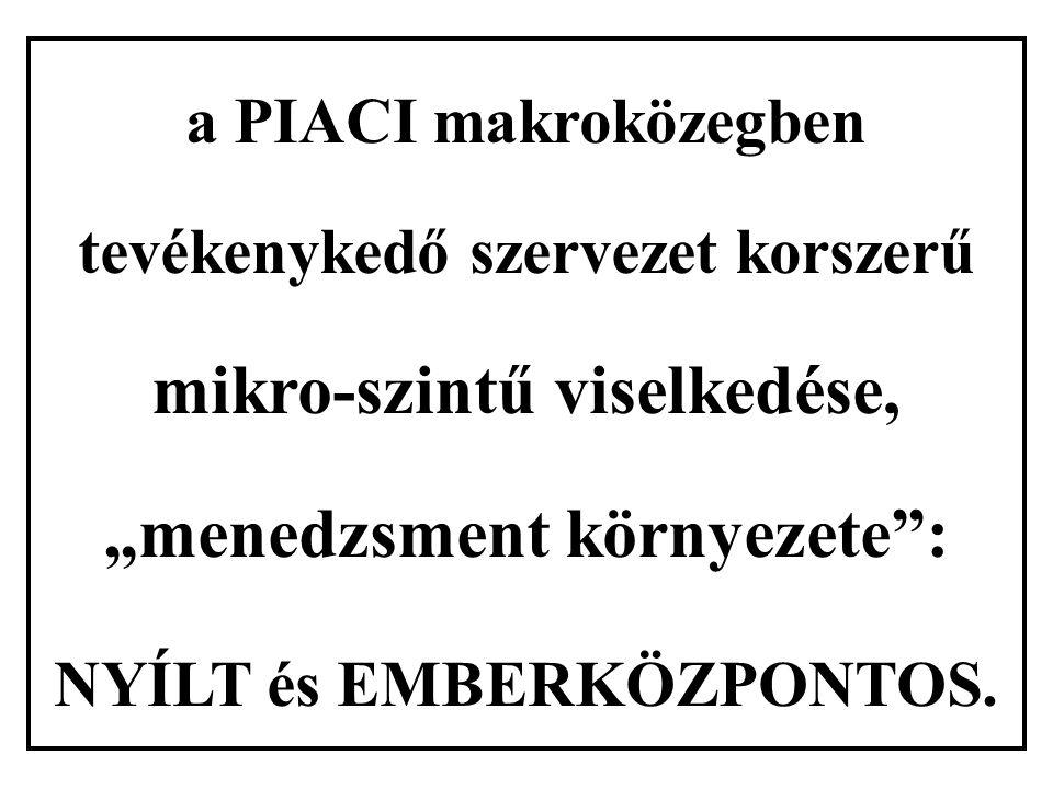 """a PIACI makroközegben tevékenykedő szervezet korszerű mikro-szintű viselkedése, """"menedzsment környezete : NYÍLT és EMBERKÖZPONTOS."""