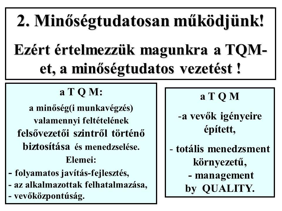 2. Minőségtudatosan működjünk. Ezért értelmezzük magunkra a TQM- et, a minőségtudatos vezetést .