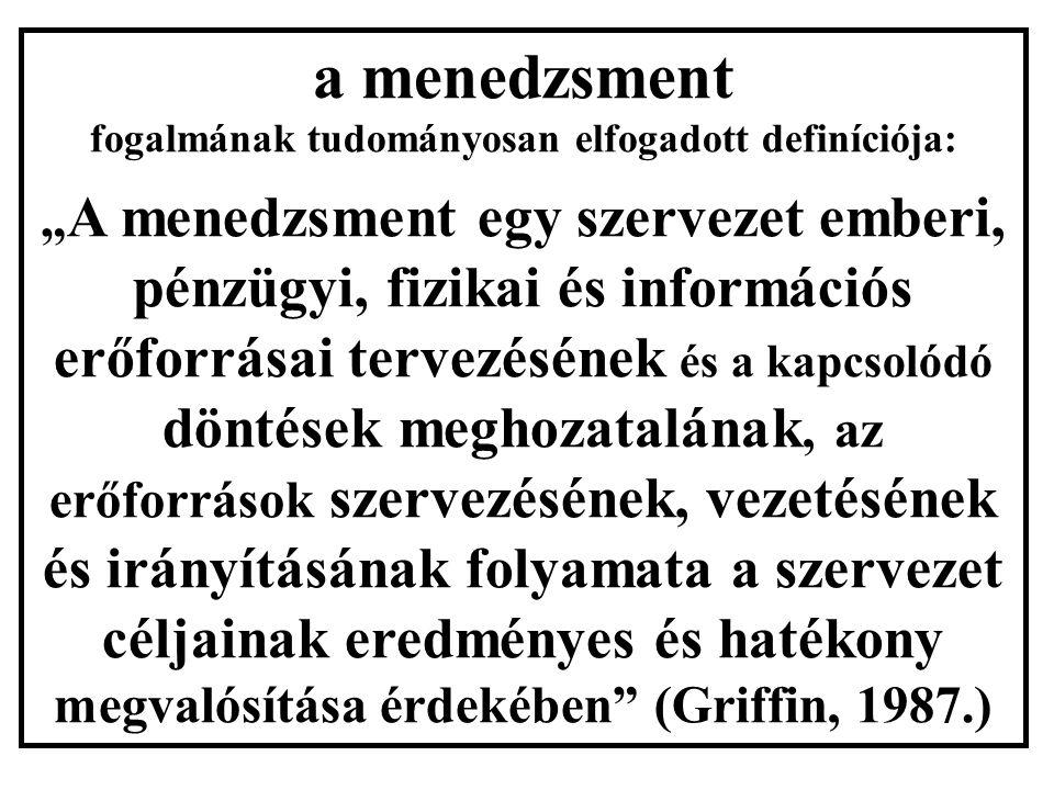 """a menedzsment fogalmának tudományosan elfogadott definíciója: """" A menedzsment egy szervezet emberi, pénzügyi, fizikai és információs erőforrásai tervezésének és a kapcsolódó döntések meghozatalának, az erőforrások szervezésének, vezetésének és irányításának folyamata a szervezet céljainak eredményes és hatékony megvalósítása érdekében (Griffin, 1987.)"""