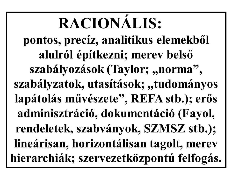 """RACIONÁLIS: pontos, precíz, analitikus elemekből alulról építkezni; merev belső szabályozások (Taylor; """"norma , szabályzatok, utasítások; """"tudományos lapátolás művészete , REFA stb.); erős adminisztráció, dokumentáció (Fayol, rendeletek, szabványok, SZMSZ stb.); lineárisan, horizontálisan tagolt, merev hierarchiák; szervezetközpontú felfogás."""