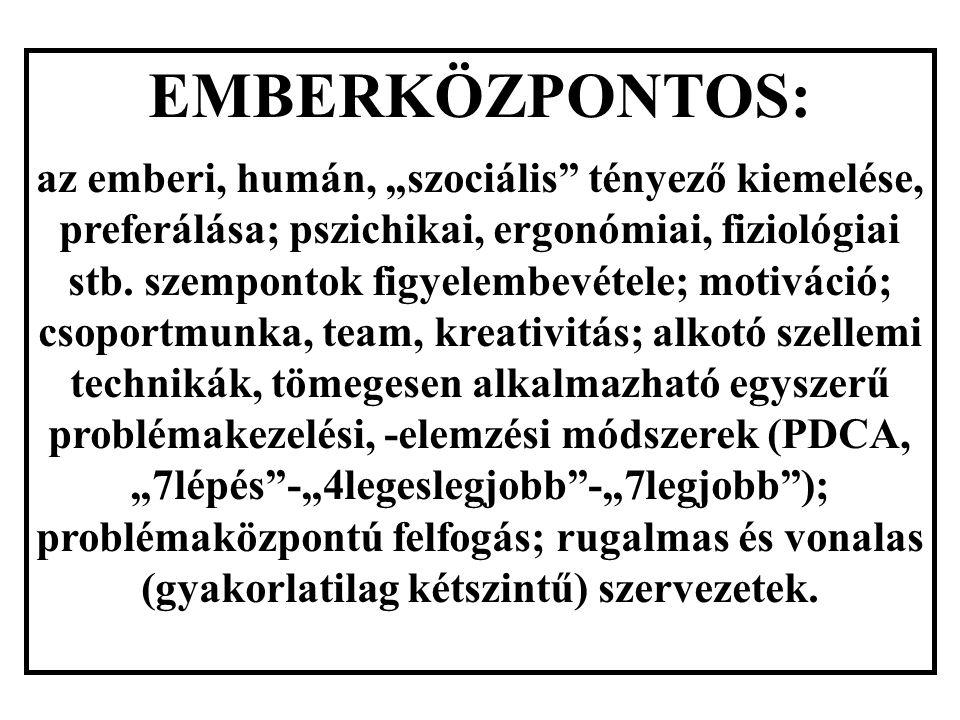 """EMBERKÖZPONTOS: az emberi, humán, """"szociális tényező kiemelése, preferálása; pszichikai, ergonómiai, fiziológiai stb."""