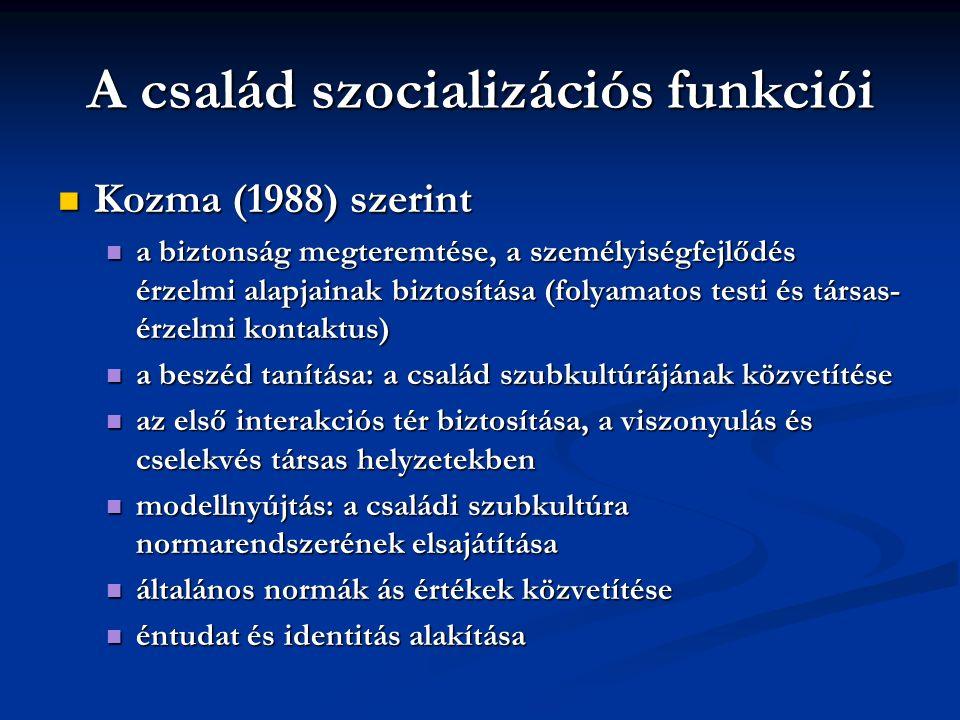 A család szocializációs funkciói Kozma (1988) szerint Kozma (1988) szerint a biztonság megteremtése, a személyiségfejlődés érzelmi alapjainak biztosítása (folyamatos testi és társas- érzelmi kontaktus) a biztonság megteremtése, a személyiségfejlődés érzelmi alapjainak biztosítása (folyamatos testi és társas- érzelmi kontaktus) a beszéd tanítása: a család szubkultúrájának közvetítése a beszéd tanítása: a család szubkultúrájának közvetítése az első interakciós tér biztosítása, a viszonyulás és cselekvés társas helyzetekben az első interakciós tér biztosítása, a viszonyulás és cselekvés társas helyzetekben modellnyújtás: a családi szubkultúra normarendszerének elsajátítása modellnyújtás: a családi szubkultúra normarendszerének elsajátítása általános normák ás értékek közvetítése általános normák ás értékek közvetítése éntudat és identitás alakítása éntudat és identitás alakítása