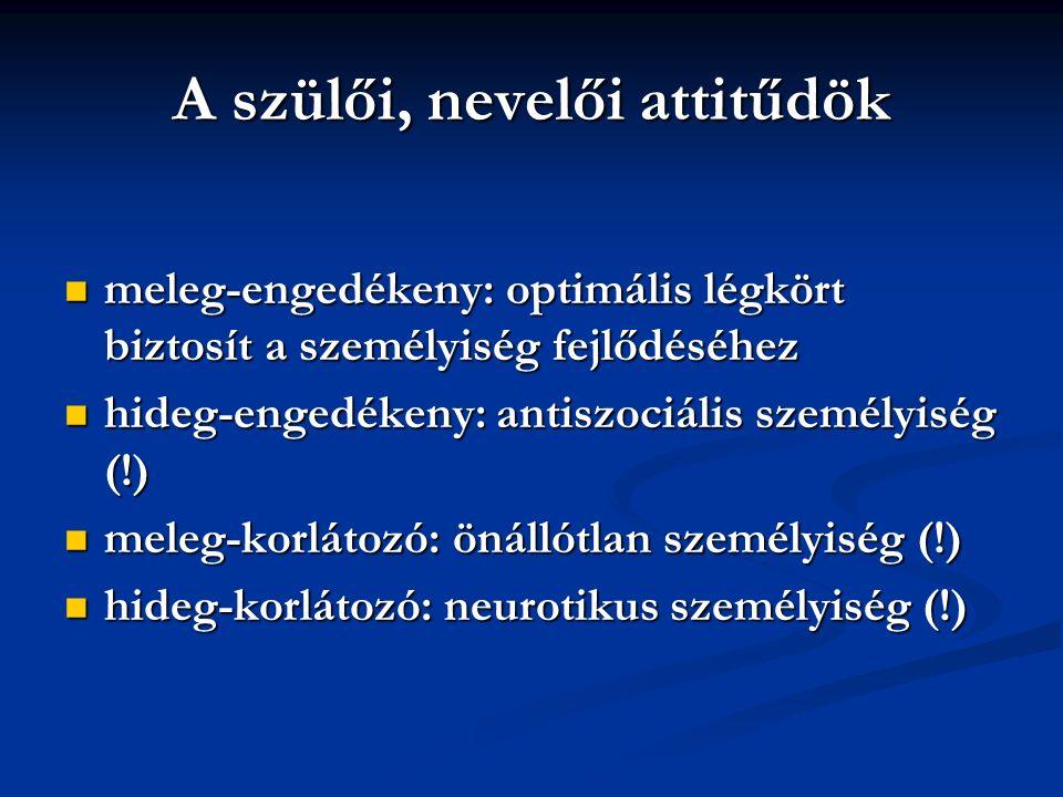 A szülői, nevelői attitűdök meleg-engedékeny: optimális légkört biztosít a személyiség fejlődéséhez meleg-engedékeny: optimális légkört biztosít a személyiség fejlődéséhez hideg-engedékeny: antiszociális személyiség (!) hideg-engedékeny: antiszociális személyiség (!) meleg-korlátozó: önállótlan személyiség (!) meleg-korlátozó: önállótlan személyiség (!) hideg-korlátozó: neurotikus személyiség (!) hideg-korlátozó: neurotikus személyiség (!)