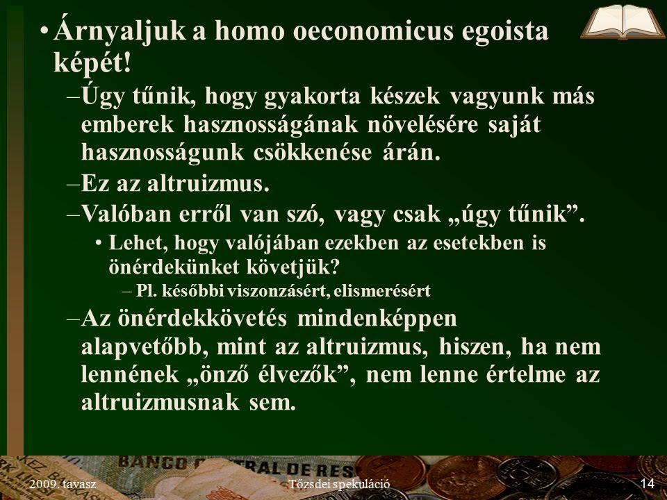 2009. tavaszTőzsdei spekuláció14 Árnyaljuk a homo oeconomicus egoista képét.