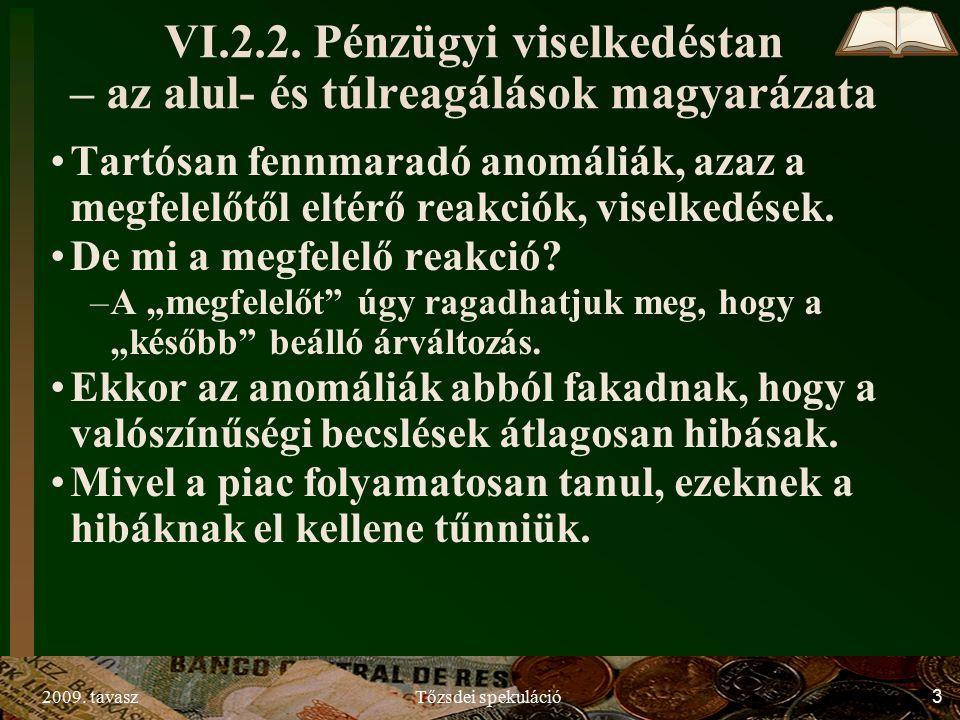 2009. tavaszTőzsdei spekuláció3 VI.2.2.