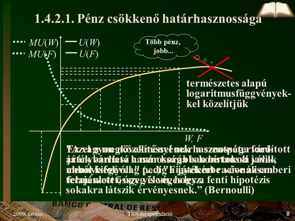 2009. tavaszTőzsdei spekuláció8 MU(F) MU(W) Több pénz, jobb...