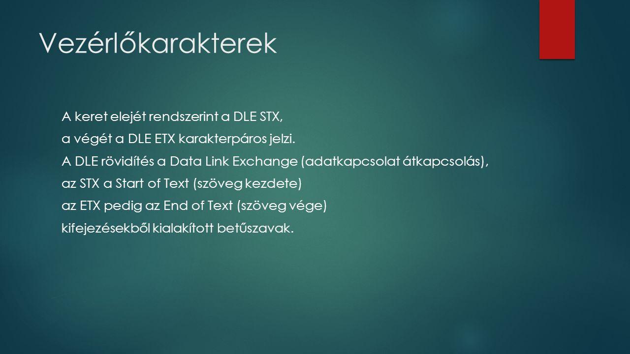 Vezérlőkarakterek A keret elejét rendszerint a DLE STX, a végét a DLE ETX karakterpáros jelzi. A DLE rövidítés a Data Link Exchange (adatkapcsolat átk