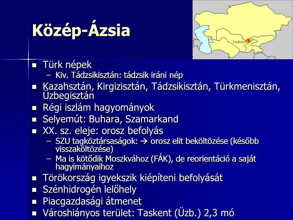 Közép-Ázsia Türk népek Türk népek –Kiv.