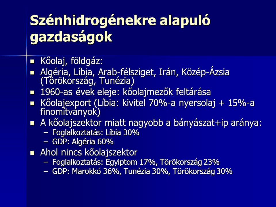 Szénhidrogénekre alapuló gazdaságok Kőolaj, földgáz: Kőolaj, földgáz: Algéria, Líbia, Arab-félsziget, Irán, Közép-Ázsia (Törökország, Tunézia) Algéria, Líbia, Arab-félsziget, Irán, Közép-Ázsia (Törökország, Tunézia) 1960-as évek eleje: kőolajmezők feltárása 1960-as évek eleje: kőolajmezők feltárása Kőolajexport (Líbia: kivitel 70%-a nyersolaj + 15%-a finomítványok) Kőolajexport (Líbia: kivitel 70%-a nyersolaj + 15%-a finomítványok) A kőolajszektor miatt nagyobb a bányászat+ip aránya: A kőolajszektor miatt nagyobb a bányászat+ip aránya: –Foglalkoztatás: Líbia 30% –GDP: Algéria 60% Ahol nincs kőolajszektor Ahol nincs kőolajszektor –Foglalkoztatás: Egyiptom 17%, Törökország 23% –GDP: Marokkó 36%, Tunézia 30%, Törökország 30%