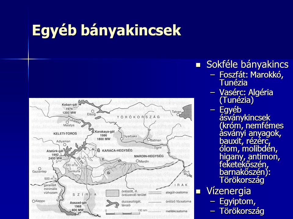 Egyéb bányakincsek Sokféle bányakincs Sokféle bányakincs –Foszfát: Marokkó, Tunézia –Vasérc: Algéria (Tunézia) –Egyéb ásványkincsek (króm, nemfémes ásványi anyagok, bauxit, rézérc, ólom, molibdén, higany, antimon, feketekőszén, barnakőszén): Törökország Vízenergia Vízenergia –Egyiptom, –Törökország