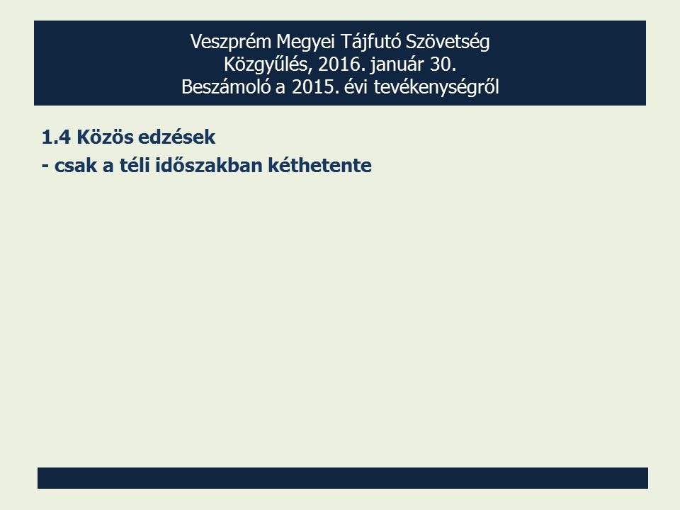 Veszprém Megyei Tájfutó Szövetség Közgyűlés, 2016. január 30. Beszámoló a 2015. évi tevékenységről 1.4 Közös edzések - csak a téli időszakban kétheten
