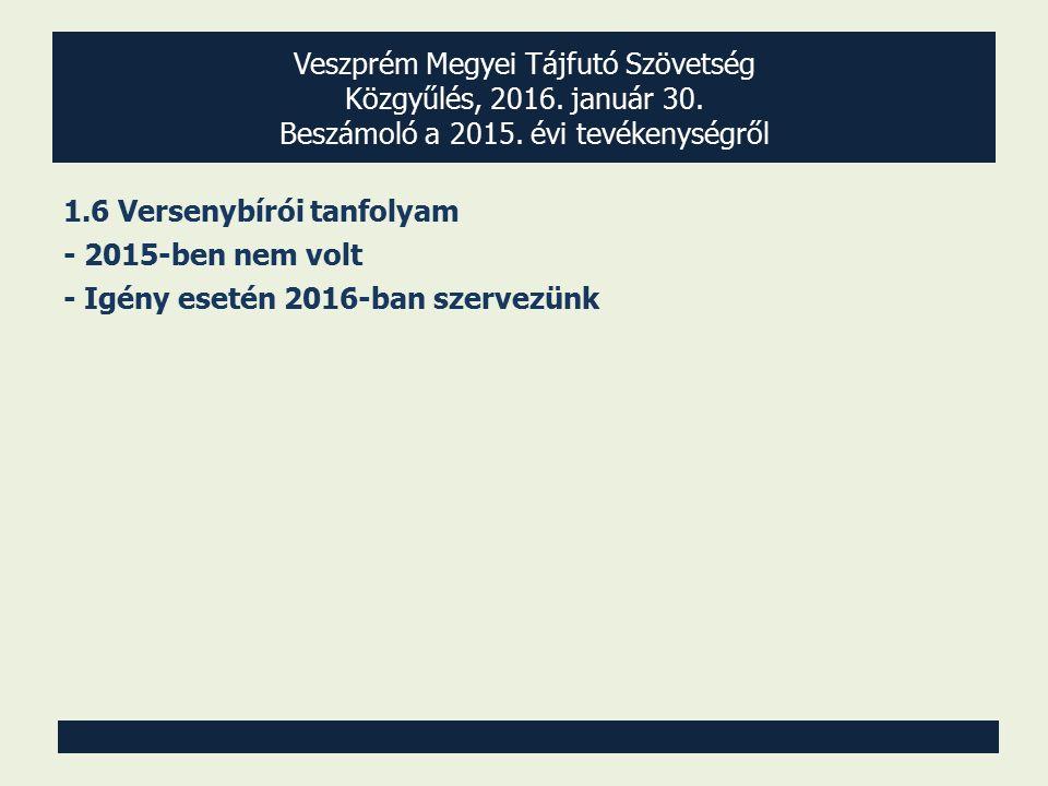 Veszprém Megyei Tájfutó Szövetség Közgyűlés, 2016. január 30. Beszámoló a 2015. évi tevékenységről 1.6 Versenybírói tanfolyam - 2015-ben nem volt - Ig