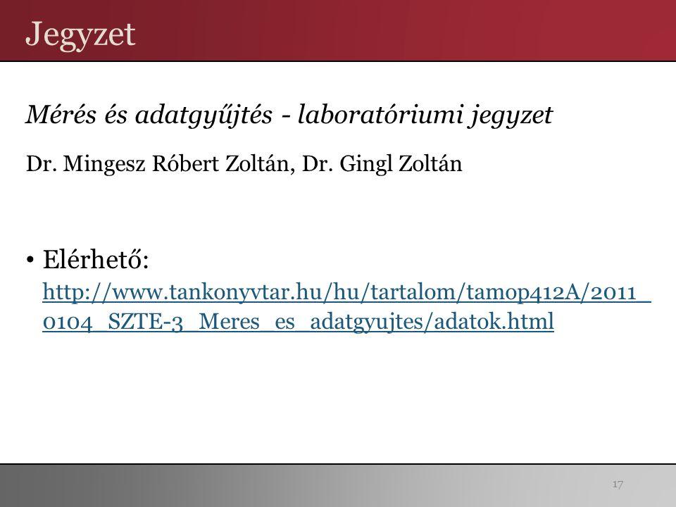 Jegyzet Mérés és adatgyűjtés - laboratóriumi jegyzet Dr.
