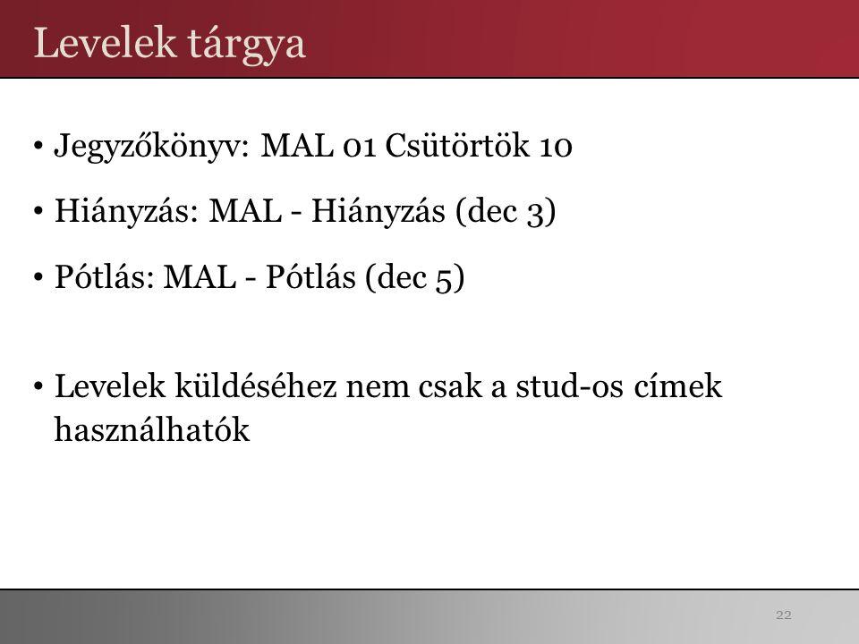 Levelek tárgya Jegyzőkönyv: MAL 01 Csütörtök 10 Hiányzás: MAL - Hiányzás (dec 3) Pótlás: MAL - Pótlás (dec 5) Levelek küldéséhez nem csak a stud-os címek használhatók 22