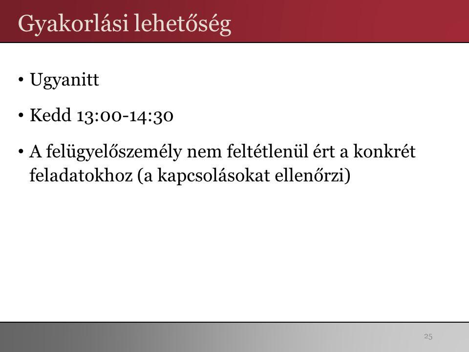 Gyakorlási lehetőség Ugyanitt Kedd 13:00-14:30 A felügyelőszemély nem feltétlenül ért a konkrét feladatokhoz (a kapcsolásokat ellenőrzi) 25