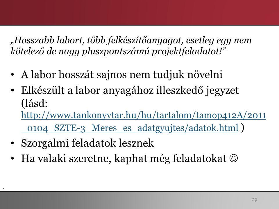 """29 A labor hosszát sajnos nem tudjuk növelni Elkészült a labor anyagához illeszkedő jegyzet (lásd: http://www.tankonyvtar.hu/hu/tartalom/tamop412A/2011 _0104_SZTE-3_Meres_es_adatgyujtes/adatok.html ) http://www.tankonyvtar.hu/hu/tartalom/tamop412A/2011 _0104_SZTE-3_Meres_es_adatgyujtes/adatok.html Szorgalmi feladatok lesznek Ha valaki szeretne, kaphat még feladatokat """"Hosszabb labort, több felkészítőanyagot, esetleg egy nem kötelező de nagy pluszpontszámú projektfeladatot! ."""