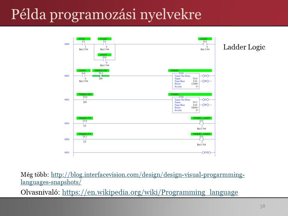 Példa programozási nyelvekre 38 Ladder Logic Még több: http://blog.interfacevision.com/design/design-visual-progarmming- languages-snapshots/http://blog.interfacevision.com/design/design-visual-progarmming- languages-snapshots/ Olvasnivaló: https://en.wikipedia.org/wiki/Programming_languagehttps://en.wikipedia.org/wiki/Programming_language