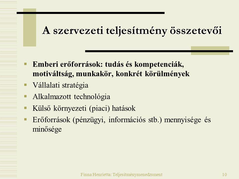 Finna Henrietta: Teljesítménymenedzsment10 A szervezeti teljesítmény összetevői  Emberi erőforrások: tudás és kompetenciák, motiváltság, munkakör, konkrét körülmények  Vállalati stratégia  Alkalmazott technológia  Külső környezeti (piaci) hatások  Erőforrások (pénzügyi, információs stb.) mennyisége és minősége