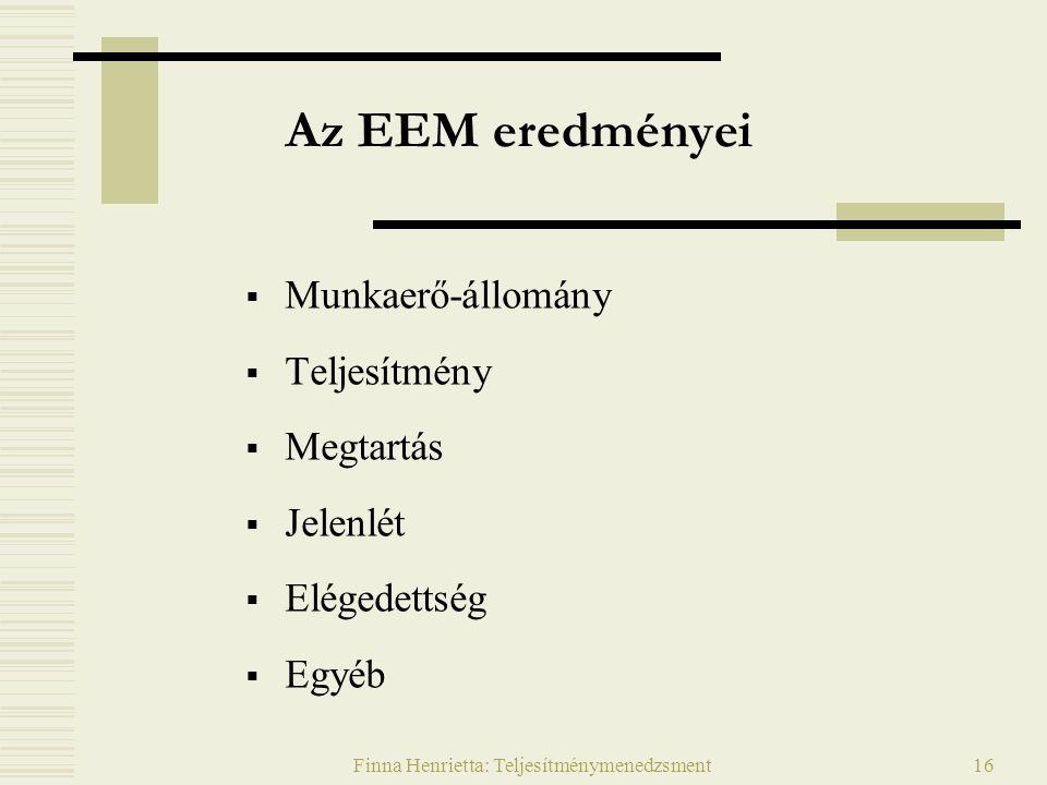 Finna Henrietta: Teljesítménymenedzsment16 Az EEM eredményei  Munkaerő-állomány  Teljesítmény  Megtartás  Jelenlét  Elégedettség  Egyéb