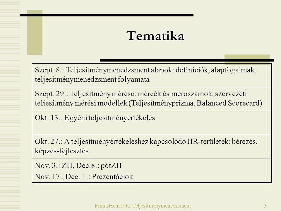 Finna Henrietta: Teljesítménymenedzsment3 Tematika Szept.