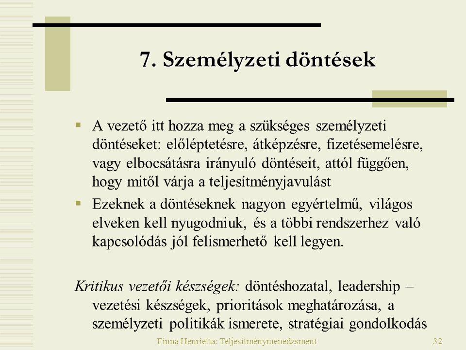 Finna Henrietta: Teljesítménymenedzsment32 7.