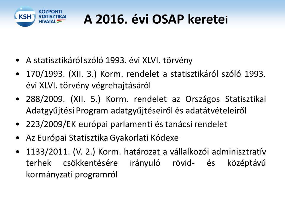 A 2016. évi OSAP kerete i A statisztikáról szóló 1993. évi XLVI. törvény 170/1993. (XII. 3.) Korm. rendelet a statisztikáról szóló 1993. évi XLVI. tör