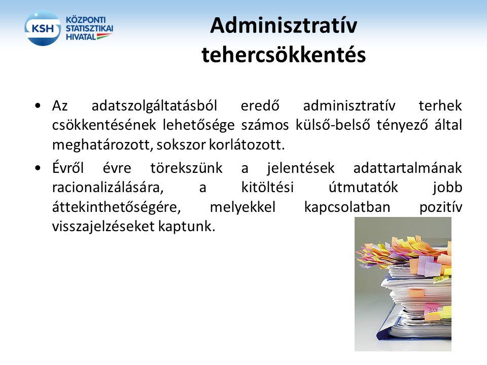 Adminisztratív tehercsökkentés Az adatszolgáltatásból eredő adminisztratív terhek csökkentésének lehetősége számos külső-belső tényező által meghatáro