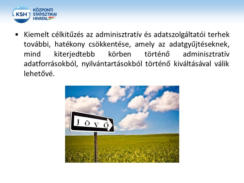 Kiemelt célkitűzés az adminisztratív és adatszolgáltatói terhek további, hatékony csökkentése, amely az adatgyűjtéseknek, mind kiterjedtebb körben tör