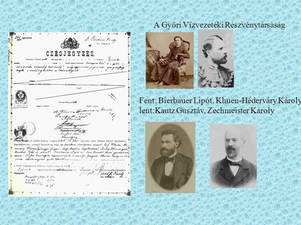 A Győri Vízvezetéki Részvénytársaság Fent: Bierbauer Lipót, Khuen-Héderváry Károly, lent:Kautz Gusztáv, Zechmeister Károly
