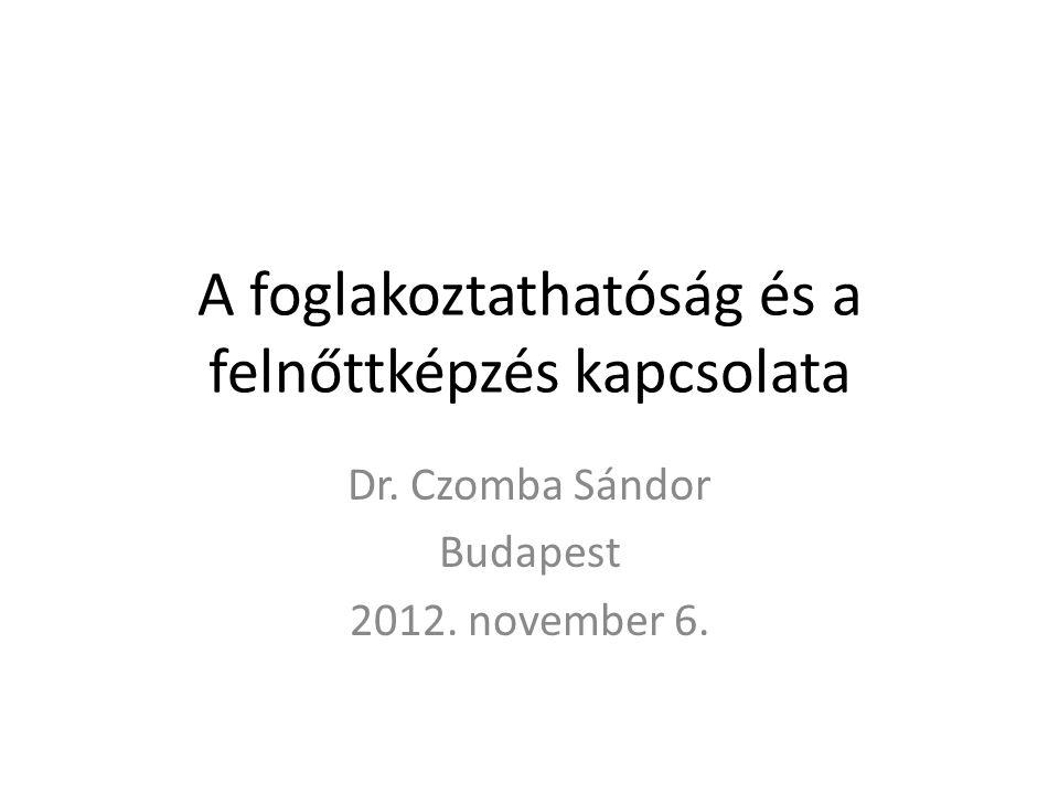 A foglakoztathatóság és a felnőttképzés kapcsolata Dr. Czomba Sándor Budapest 2012. november 6.
