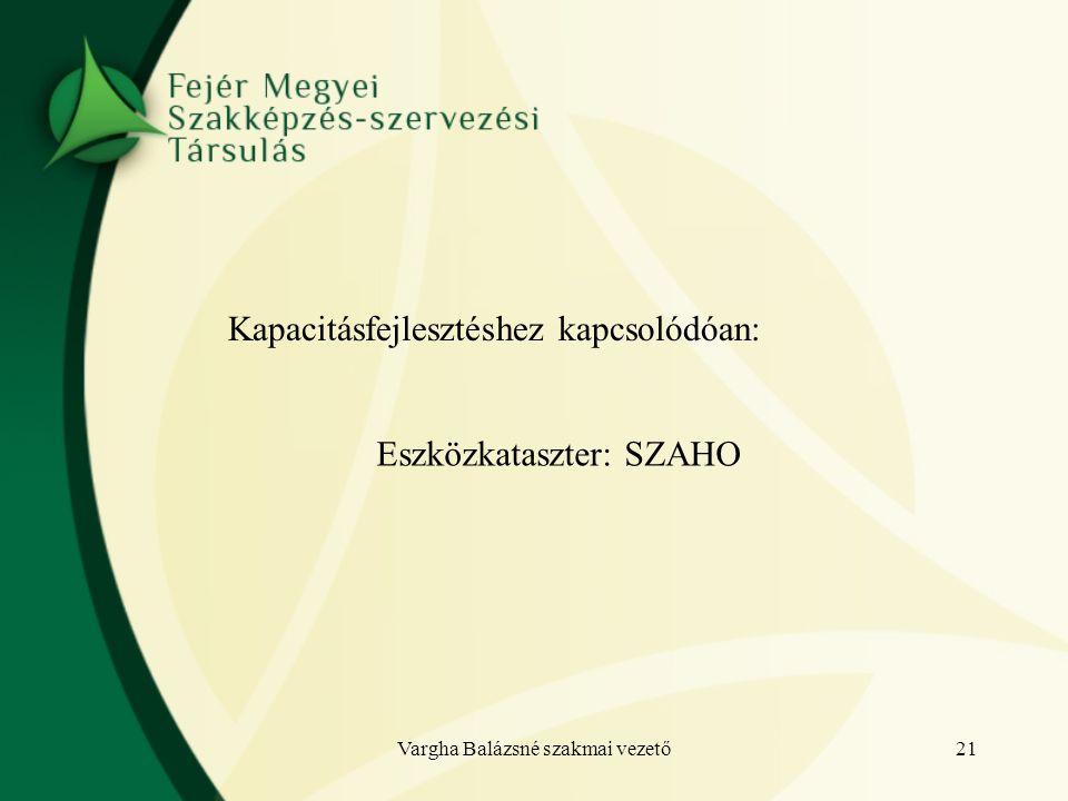 Kapacitásfejlesztéshez kapcsolódóan: Eszközkataszter: SZAHO 21Vargha Balázsné szakmai vezető