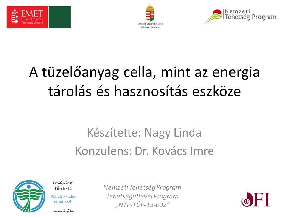 A tüzelőanyag cella, mint az energia tárolás és hasznosítás eszköze Készítette: Nagy Linda Konzulens: Dr.