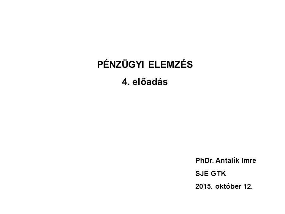 PÉNZÜGYI ELEMZÉS 4. előadás PhDr. Antalík Imre SJE GTK 2015. október 12.