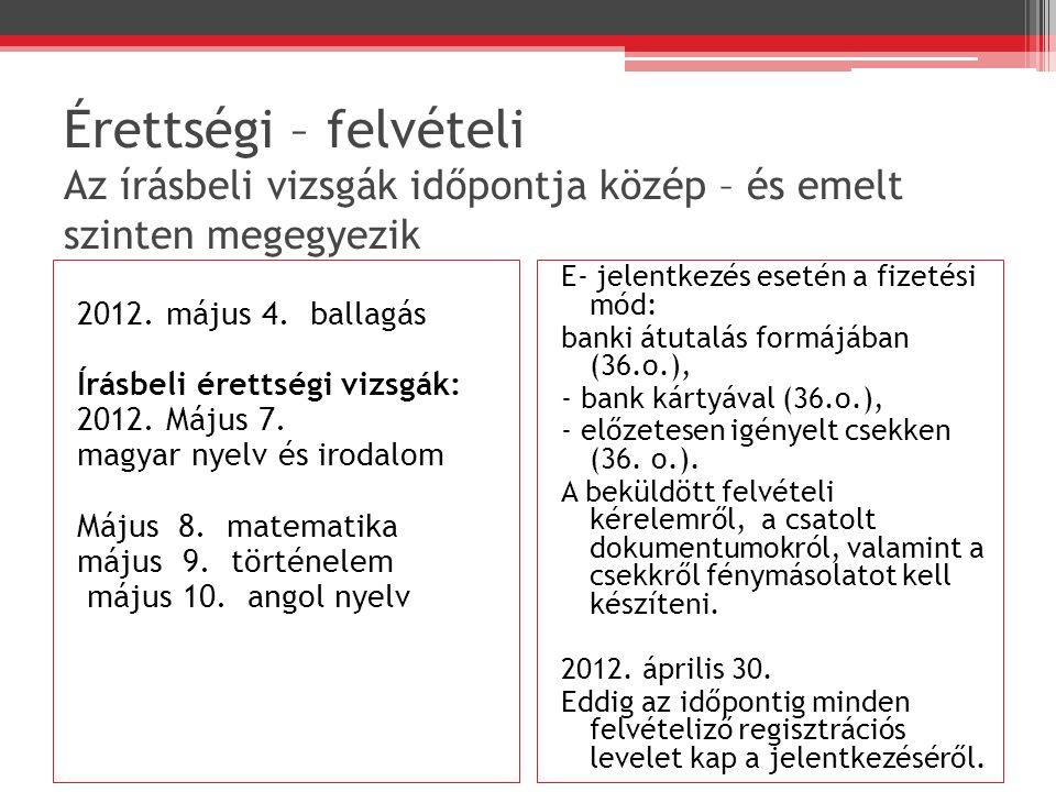Érettségi – felvételi Az írásbeli vizsgák időpontja közép – és emelt szinten megegyezik 2012.
