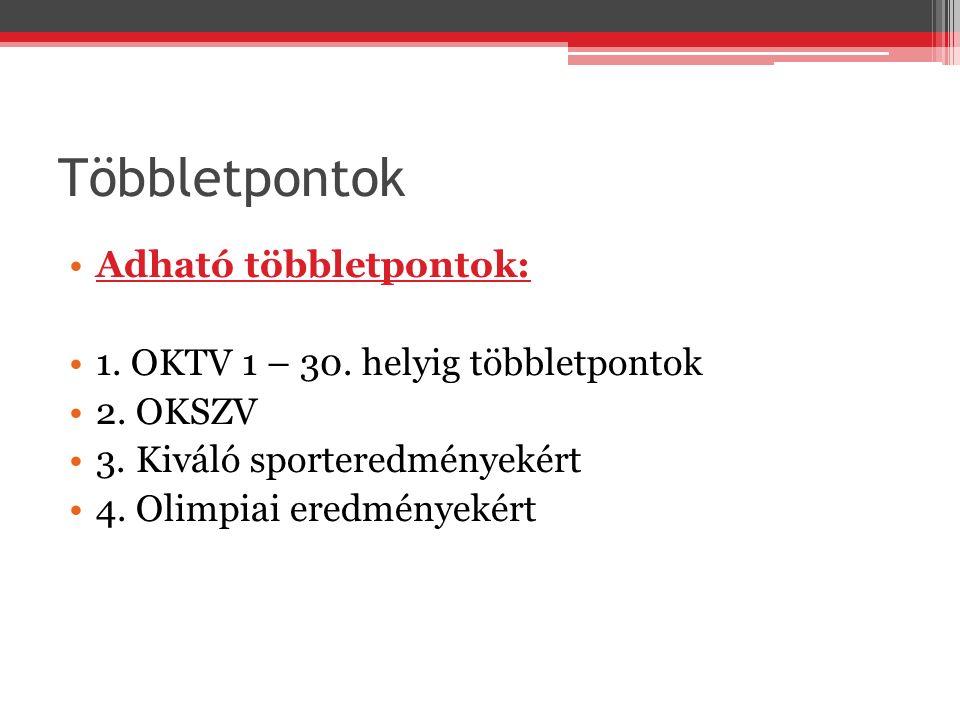 Többletpontok Adható többletpontok: 1.OKTV 1 – 30.