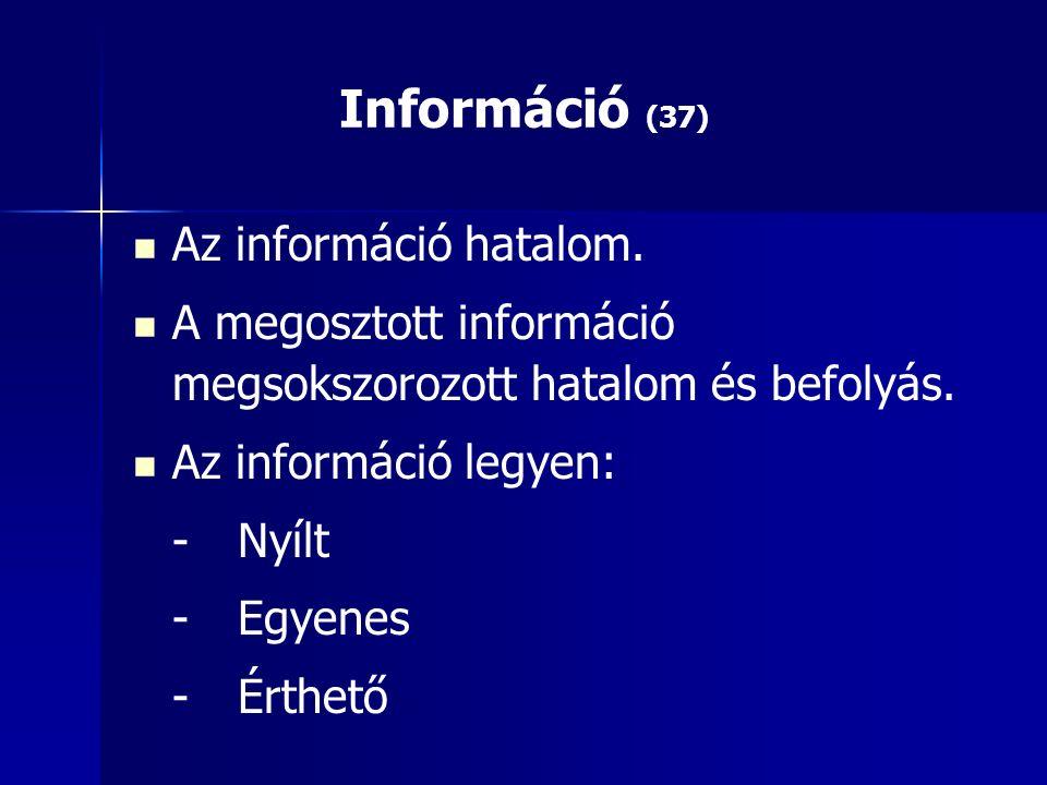 Információ (37) Az információ hatalom. A megosztott információ megsokszorozott hatalom és befolyás.