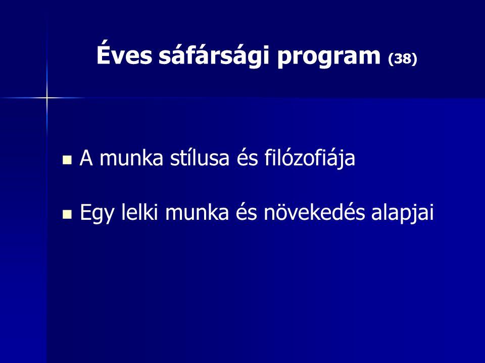 Éves sáfársági program (38) A munka stílusa és filózofiája Egy lelki munka és növekedés alapjai