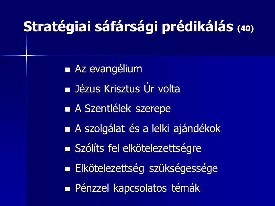 Stratégiai sáfársági prédikálás (40) Az evangélium Jézus Krisztus Úr volta A Szentlélek szerepe A szolgálat és a lelki ajándékok Szólíts fel elkötelezettségre Elkötelezettség szükségessége Pénzzel kapcsolatos témák